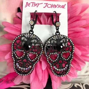 Betsey Johnson Dark Magic Sugar Skull Earrings